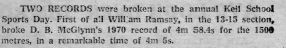 Keil School Sport Day Results - 1976